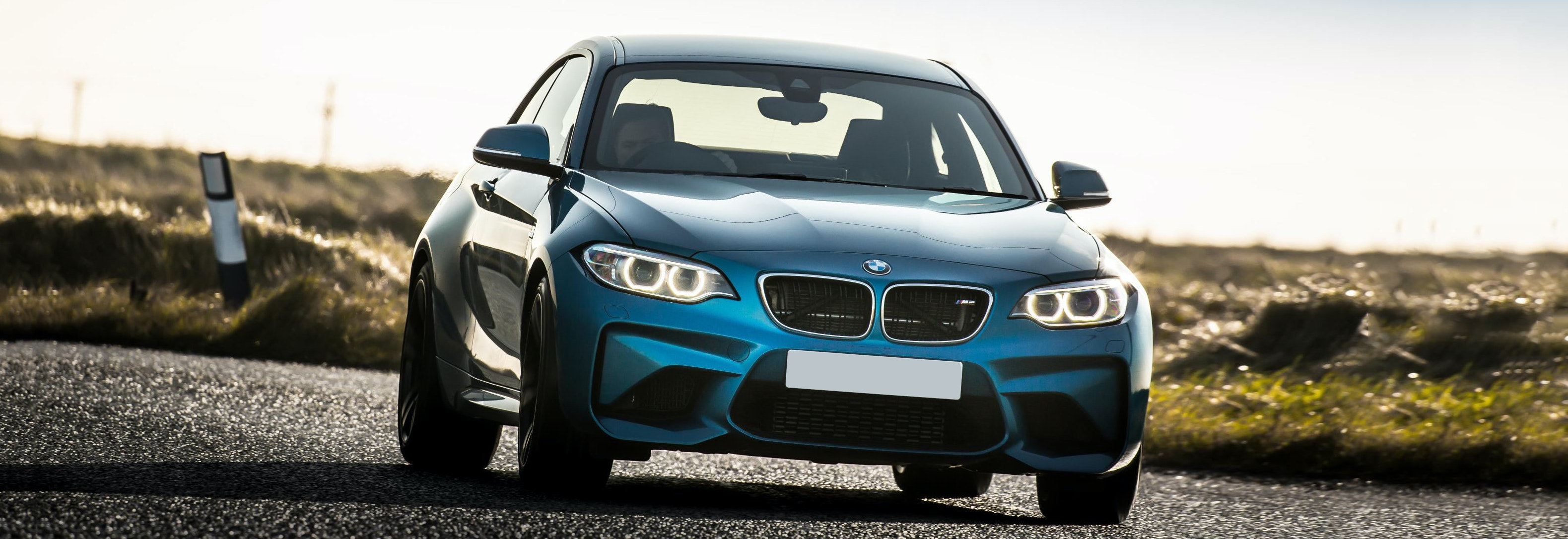 2018 Bmw M2 Blue Driving Front