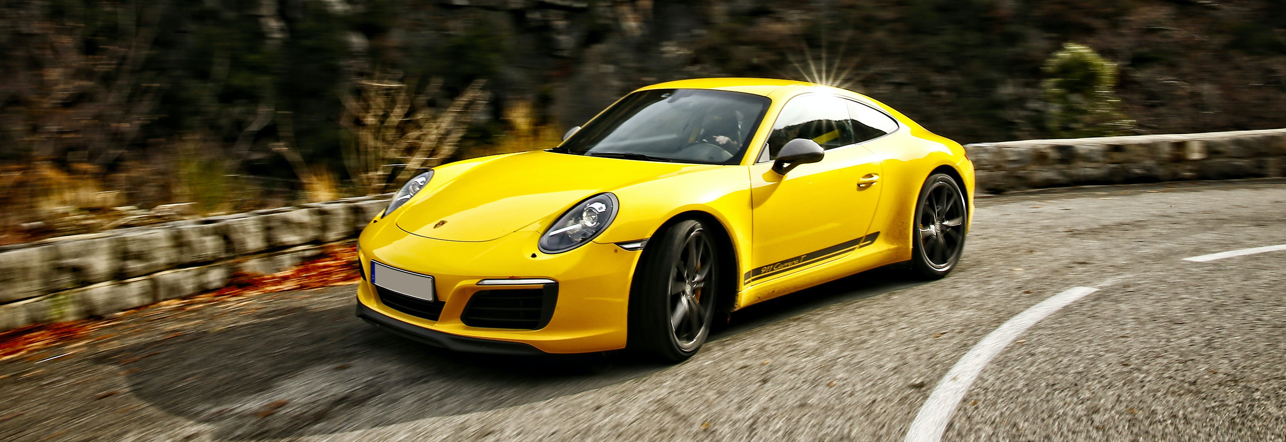 2018 Porsche 911 Carrera T Yellow Driving Front