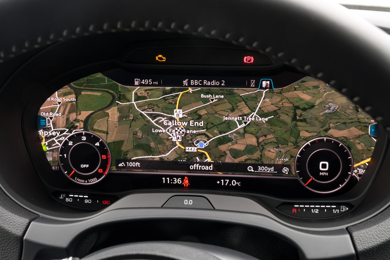 2018 audi s3 virtual cockpit. the optional virtual cockpit can display a huge map 2018 audi s3