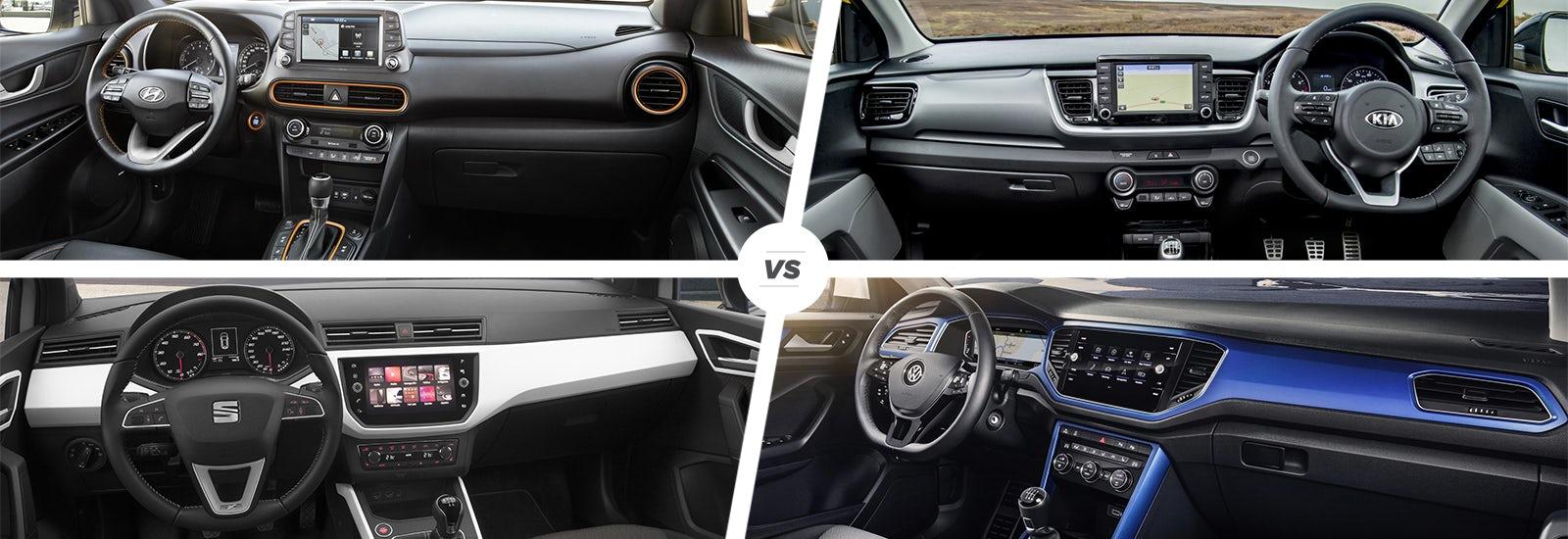 Hyundai kona vs kia stonic vs seat arona vs vw t roc carwow for Interior volkswagen t roc