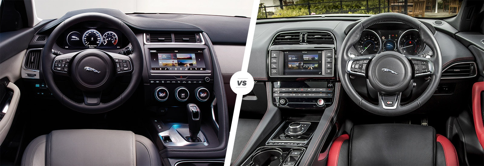 Jaguar E Pace On The Left, F Pace On The Right