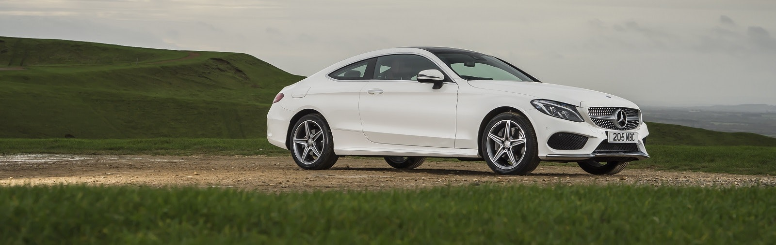 White Mercedes C Class Coupe